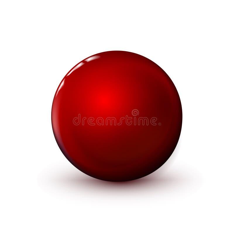 Κόκκινη στιλπνή σφαίρα, γυαλισμένη σφαίρα Χλεύη επάνω του καθαρού κύκλου το ρεαλιστικό αντικείμενο, υαλώδες εικονίδιο σφαιρών Απλ ελεύθερη απεικόνιση δικαιώματος