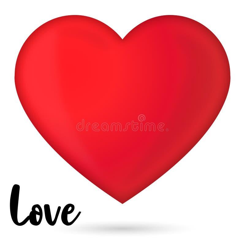 Κόκκινη στιλπνή τρισδιάστατη καρδιά για τα καλά σχέδια στοκ φωτογραφία
