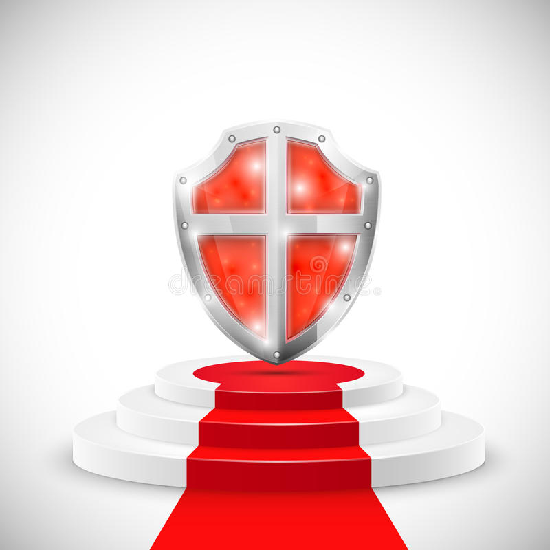 Κόκκινη στιλπνή ασπίδα στο βάθρο. ελεύθερη απεικόνιση δικαιώματος