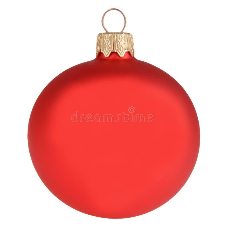 Κόκκινη σφαίρα διακοσμήσεων Χριστουγέννων που απομονώνεται στο λευκό στοκ εικόνες με δικαίωμα ελεύθερης χρήσης