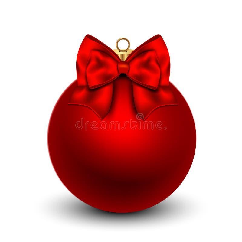 Κόκκινη σφαίρα Χριστουγέννων με ένα τόξο, που απομονώνεται στο λευκό ελεύθερη απεικόνιση δικαιώματος