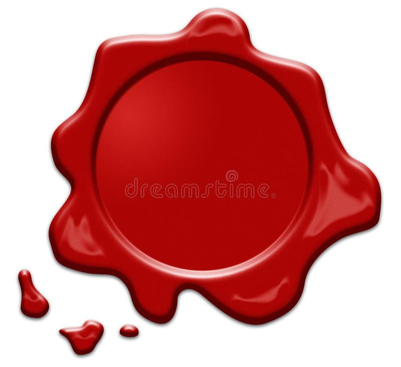 Κόκκινη σφραγίδα κεριών ή signet απομονωμένος διανυσματική απεικόνιση
