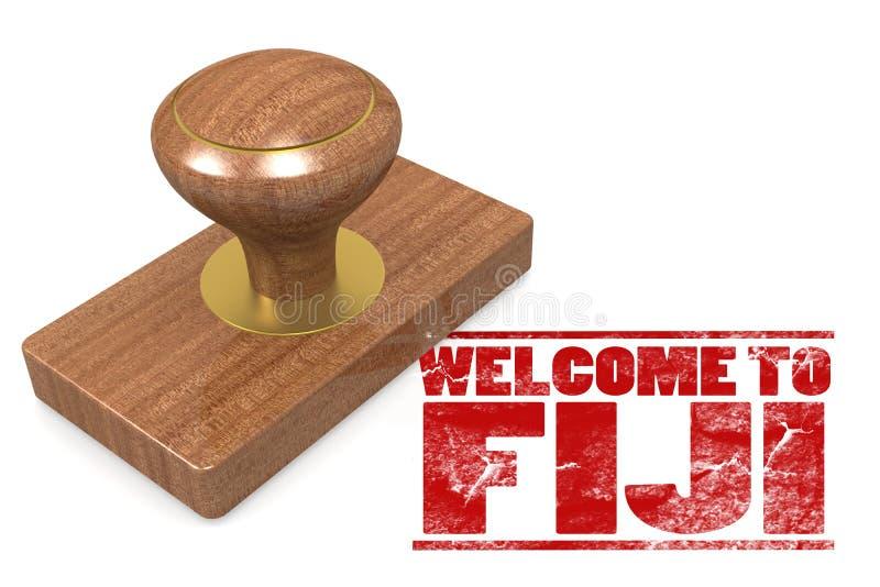 Κόκκινη σφραγίδα με την υποδοχή στα Φίτζι διανυσματική απεικόνιση