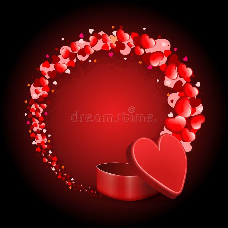 Κόκκινη σύνθεση με μια κόκκινη κασετίνα και ένα στρογγυλό στεφάνι πολλών καρδιών ελεύθερη απεικόνιση δικαιώματος