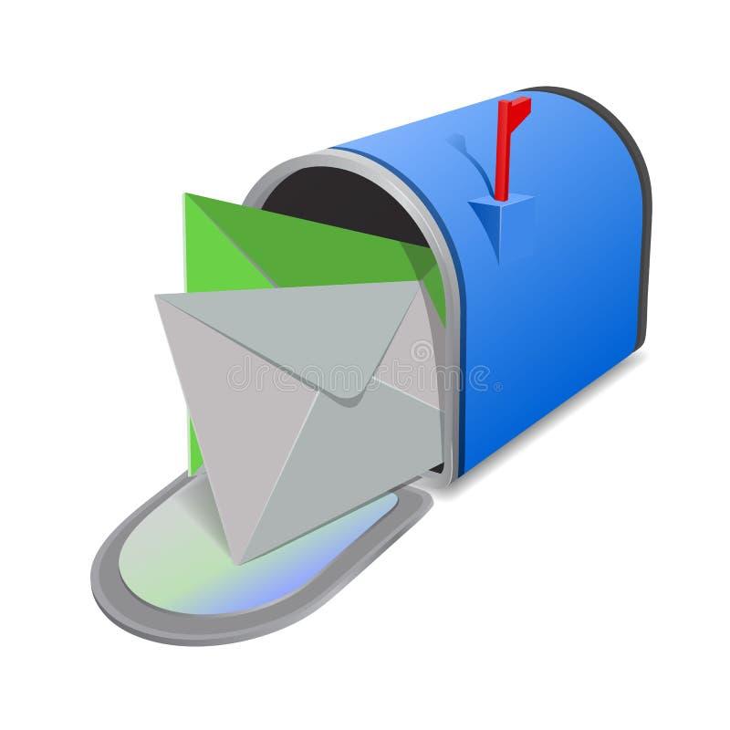 Κόκκινη ταχυδρομική θυρίδα EnveOpen με τους φακέλους στην κάλυψη που απομονώνεται από το υπόβαθρο r διανυσματική απεικόνιση