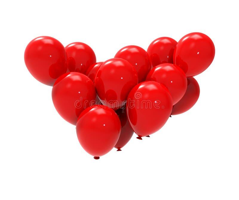 Κόκκινη τρισδιάστατη απεικόνιση μπαλονιών δεσμών διανυσματική απεικόνιση