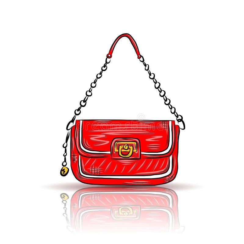 Κόκκινη τσάντα γοητείας διανυσματική απεικόνιση