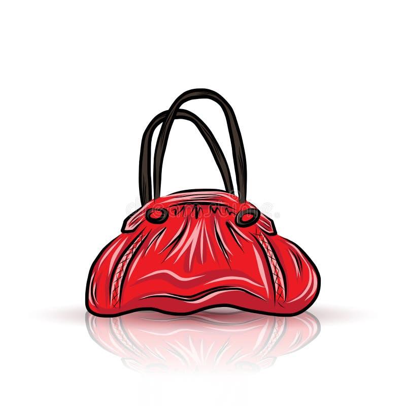 Κόκκινη λυπημένη τσάντα ελεύθερη απεικόνιση δικαιώματος