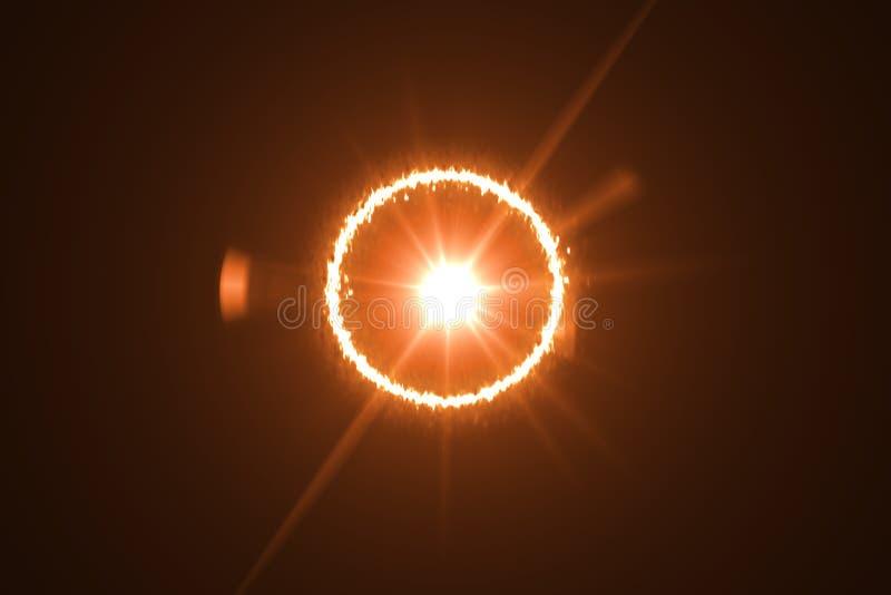 Κόκκινη φλόγα κύκλων Δαχτυλίδι της ελαφριάς επίδρασης φλογών Έγκαυμα ήλιων διανυσματική απεικόνιση