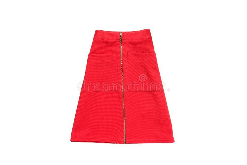 κόκκινη φούστα μοντέρνη έννοια απομονωμένος Άσπρη ανασκόπηση στοκ εικόνες