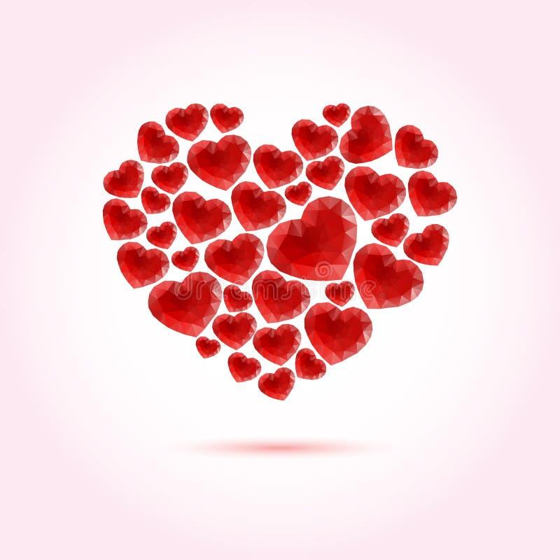 Κόκκινη φωτεινή διανυσματική καρδιά φιαγμένη από πολλές polygonal καρδιές απεικόνιση αποθεμάτων