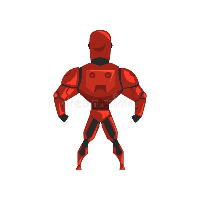 Κόκκινη φόρμα αστροναύτη ρομπότ, superhero, cyborg κοστούμι, πίσω διανυσματική απεικόνιση άποψης σε ένα άσπρο υπόβαθρο απεικόνιση αποθεμάτων
