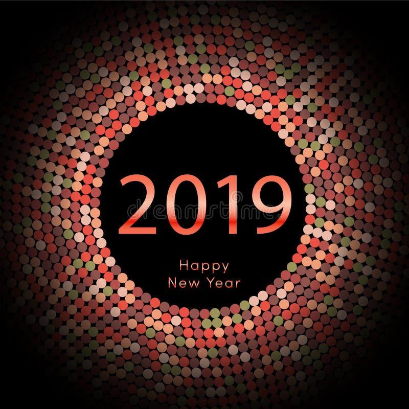 Κόκκινη χαιρετώντας αφίσα έτους 2019 discoball νέα Δίσκος κύκλων καλής χρονιάς 2019 με το μόριο Ακτινοβολήστε γκρίζο σχέδιο σημεί διανυσματική απεικόνιση