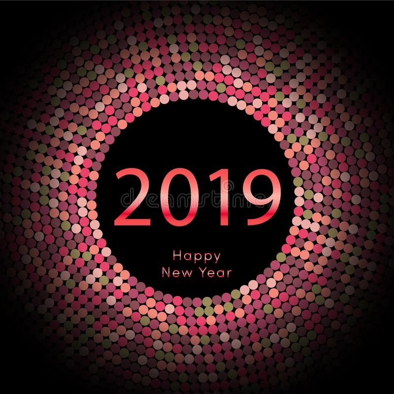 Κόκκινη χαιρετώντας αφίσα έτους 2019 discoball νέα Δίσκος κύκλων καλής χρονιάς με το μόριο Ακτινοβολήστε γκρίζο σχέδιο σημείων δι ελεύθερη απεικόνιση δικαιώματος