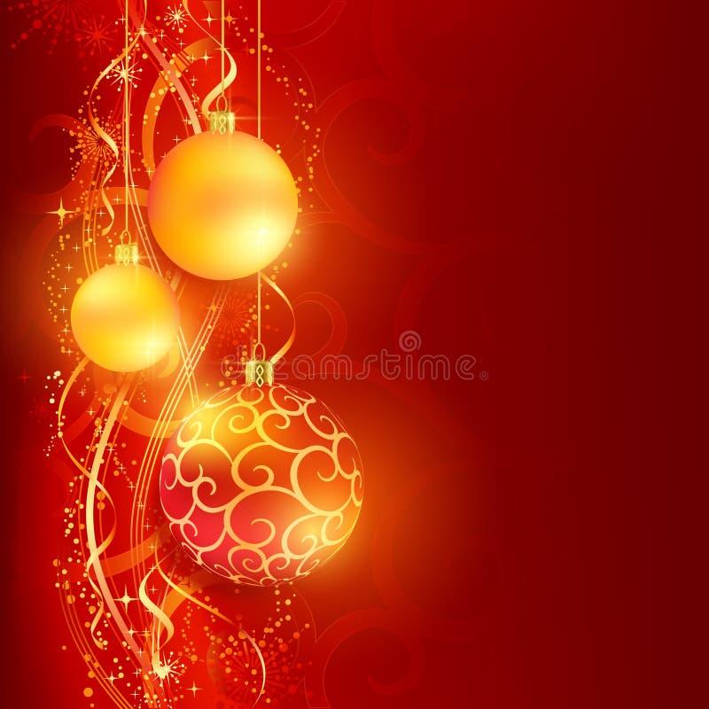 Κόκκινη χρυσή ανασκόπηση Χριστουγέννων με τα μπιχλιμπίδια απεικόνιση αποθεμάτων