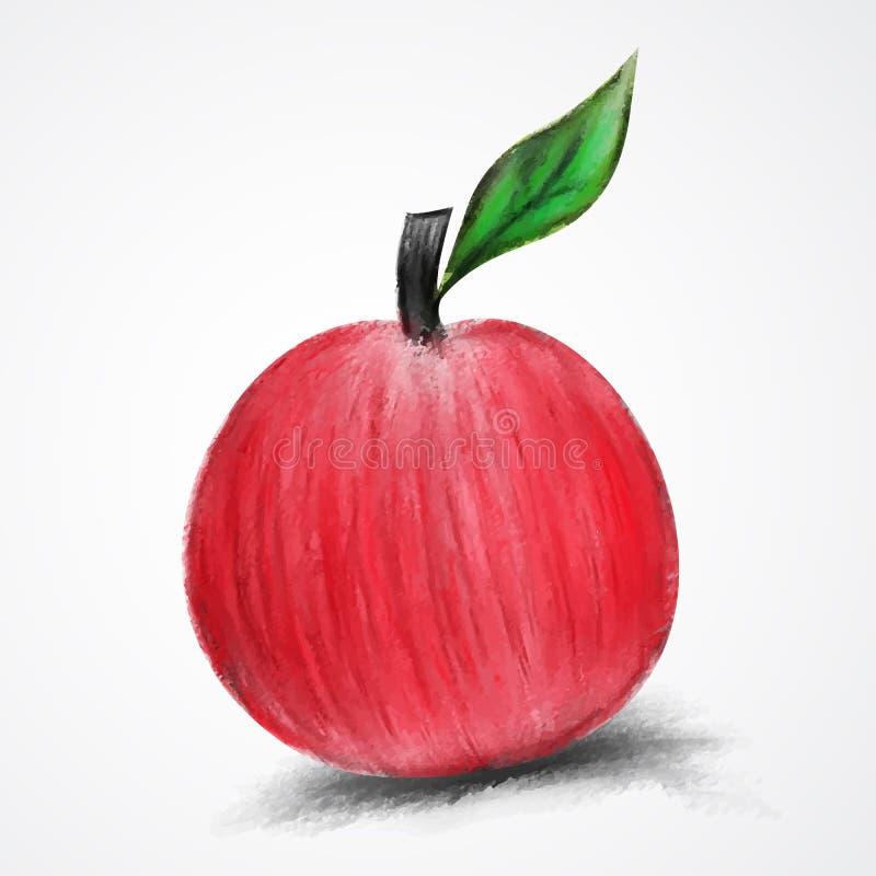 Κόκκινη χρωματισμένη η Apple διανυσματική απεικόνιση watercolor, συρμένο χέρι μήλο που απομονώνεται στοκ εικόνες