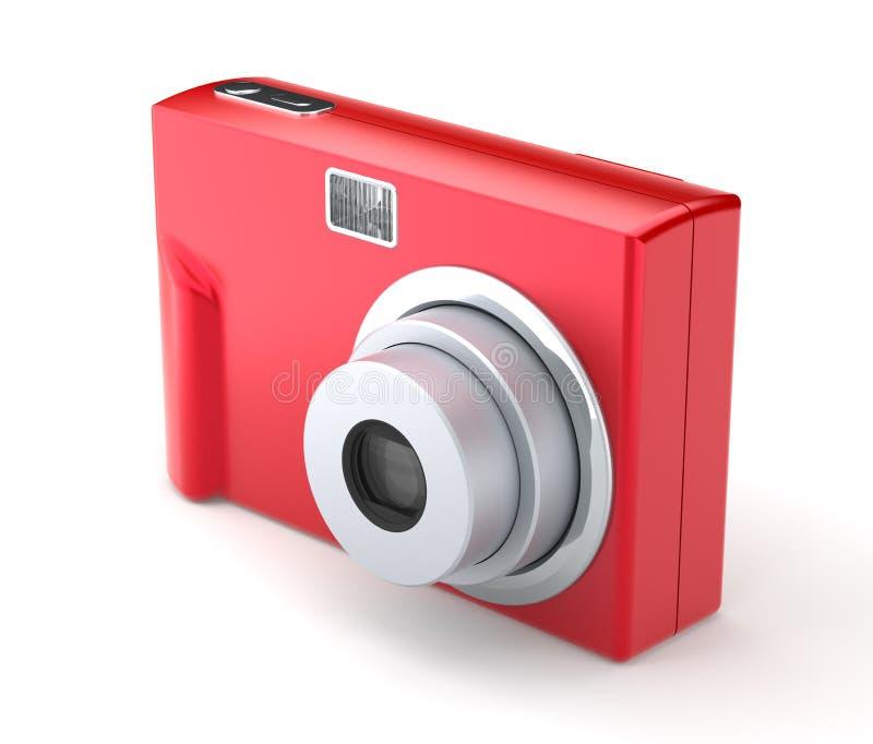 Κόκκινη ψηφιακή συμπαγής κάμερα φωτογραφιών στο λευκό ελεύθερη απεικόνιση δικαιώματος