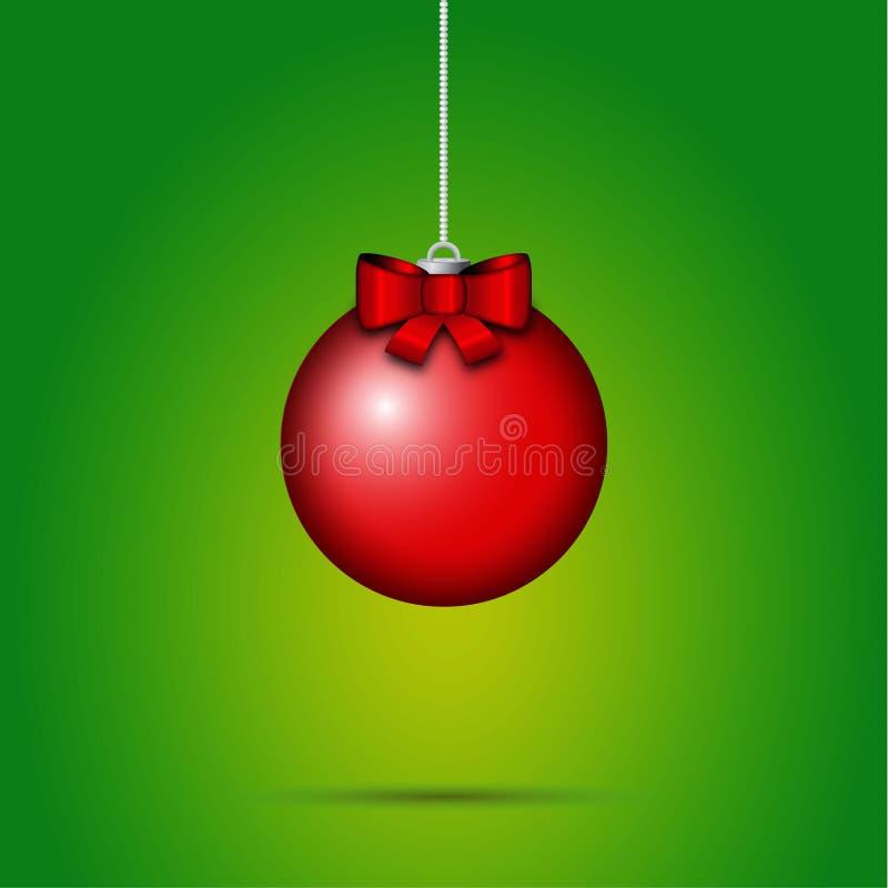 Κόκκινη beribboned ένωση μπιχλιμπιδιών Χριστουγέννων για τις διακοσμήσεις Χριστουγέννων ελεύθερη απεικόνιση δικαιώματος