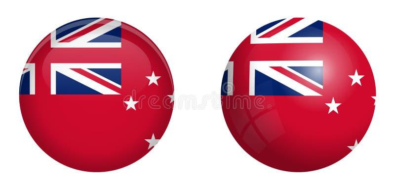 Κόκκινη ensign της Νέας Ζηλανδίας σημαία κάτω από το τρισδιάστατο κουμπί θόλων και στη στιλπνές σφαίρα/τη σφαίρα διανυσματική απεικόνιση
