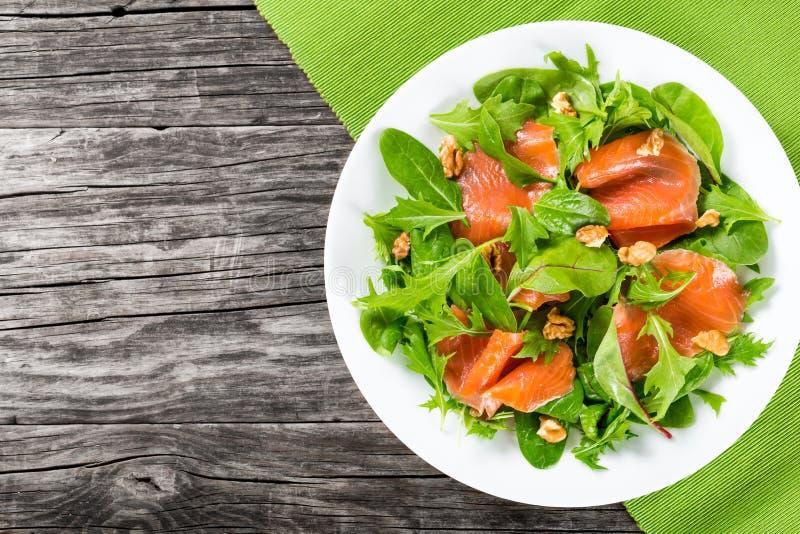 Κόκκινη healty σαλάτα ψαριών στο άσπρο πιάτο στοκ φωτογραφίες