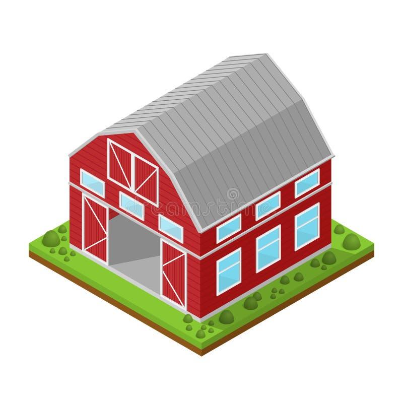 Κόκκινη Isometric άποψη αγροτικών σπιτιών διάνυσμα ελεύθερη απεικόνιση δικαιώματος