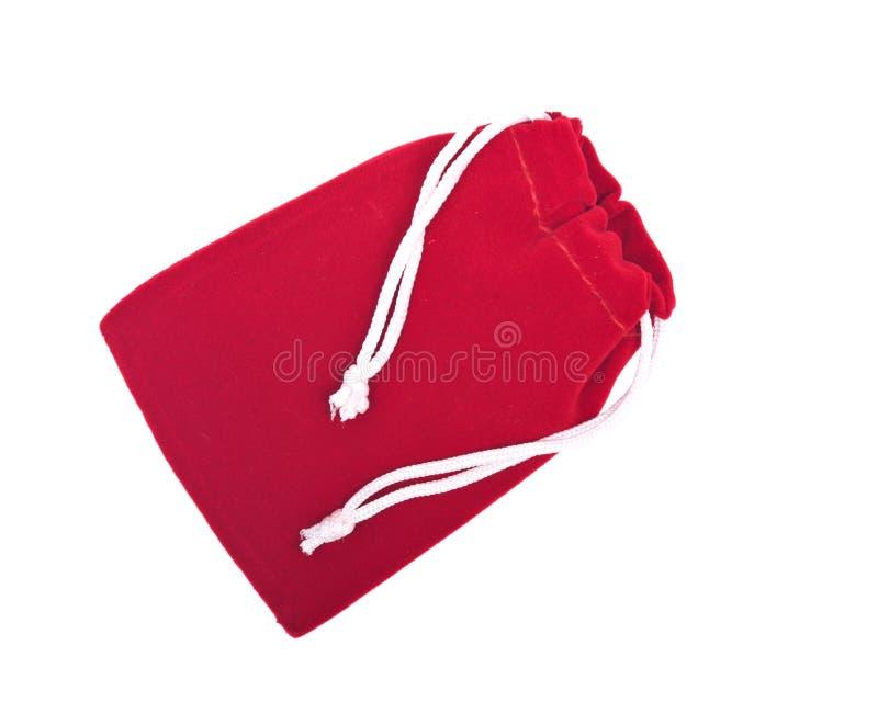 Κόκκινη velveteen σακούλα κρυστάλλου στοκ εικόνες