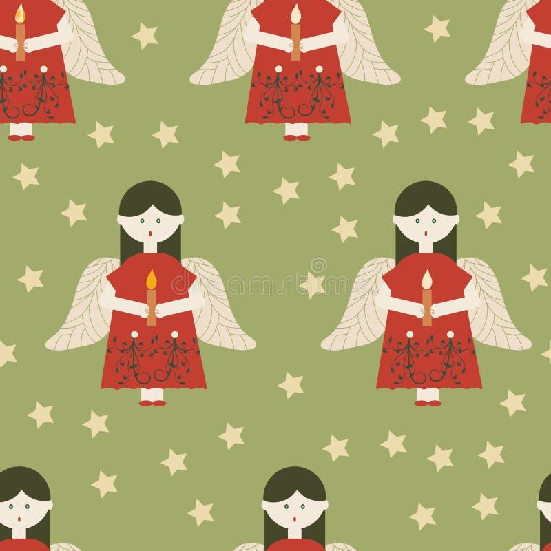 Κόκκινοι άγγελοι στο πράσινο άνευ ραφής σχέδιο υποβάθρου διανυσματική απεικόνιση