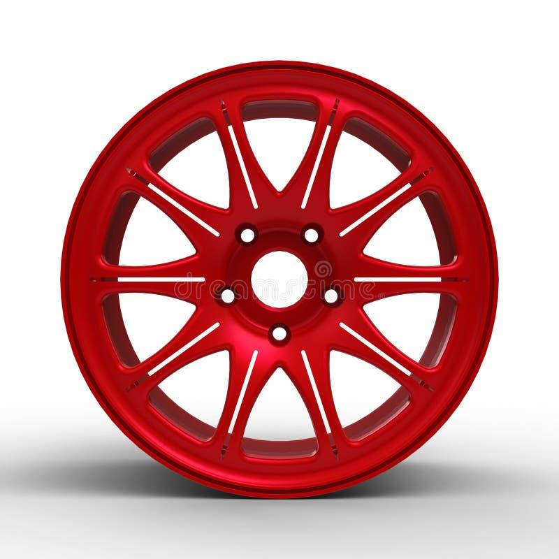 Κόκκινοι δίσκοι χάλυβα για μια τρισδιάστατη απεικόνιση αυτοκινήτων απεικόνιση αποθεμάτων