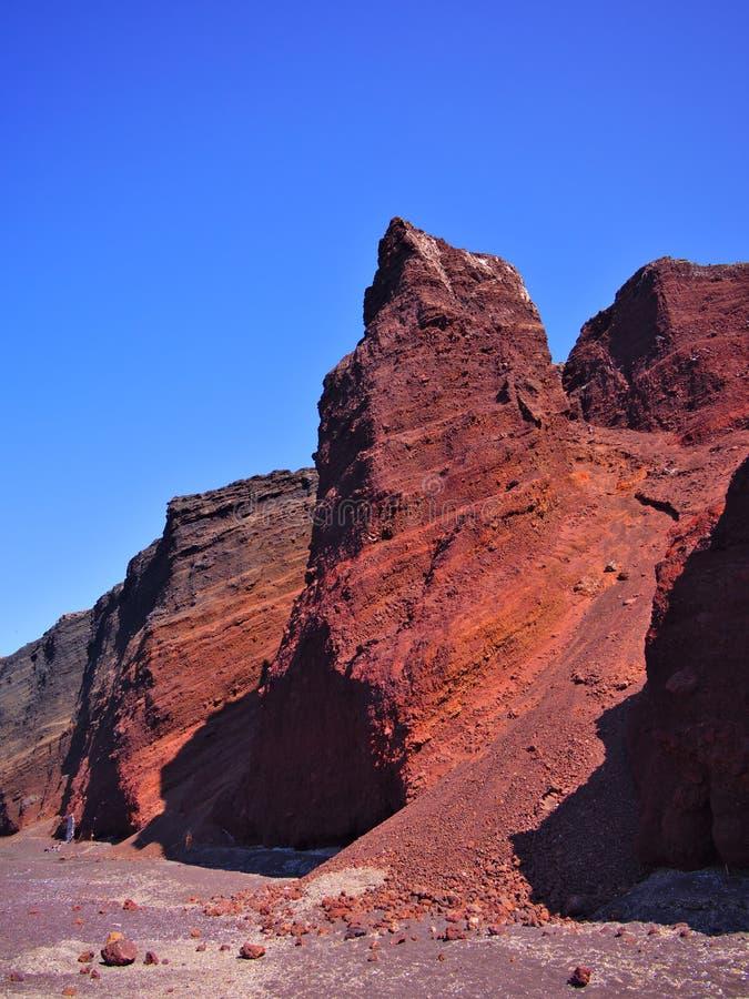 Κόκκινοι απότομοι βράχοι παραλιών Santorini στοκ εικόνες