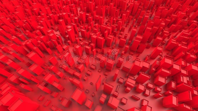 Κόκκινοι αφηρημένοι φραγμοί πόλεων και κυβικές μορφές απεικόνιση αποθεμάτων