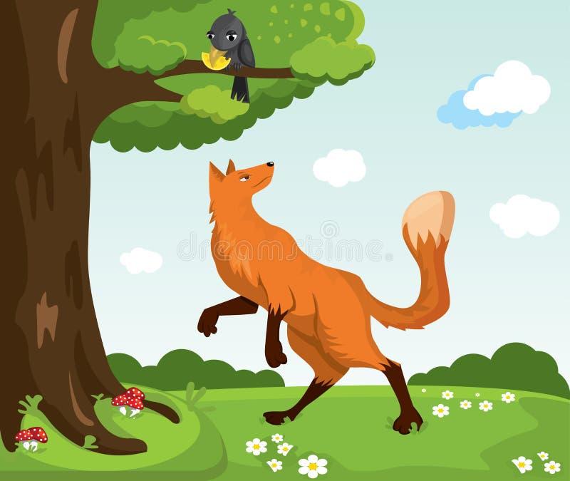 Κόκκινοι αλεπού και κόρακας με το τυρί χαρακτήρες αστείοι ελεύθερη απεικόνιση δικαιώματος