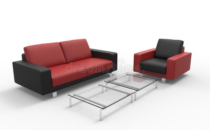 Κόκκινοι και μαύροι καναπές και Οθωμανός στοκ φωτογραφία