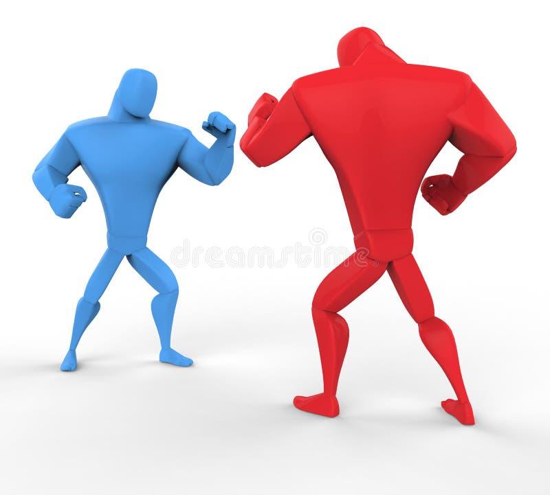 Κόκκινοι και μπλε μαχητές που απομονώνονται στο άσπρο υπόβαθρο ελεύθερη απεικόνιση δικαιώματος