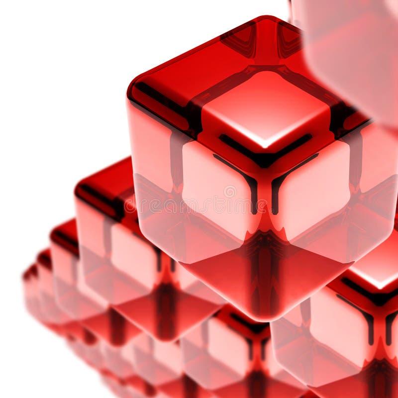 Κόκκινοι κύβοι γυαλιού που απομονώνονται στο λευκό στοκ φωτογραφίες