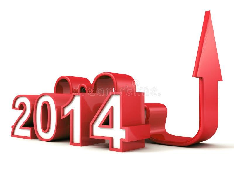 Κόκκινοι 2014 νέοι αριθμοί έτους με την ανάπτυξη του βέλους έννοιας απεικόνιση αποθεμάτων