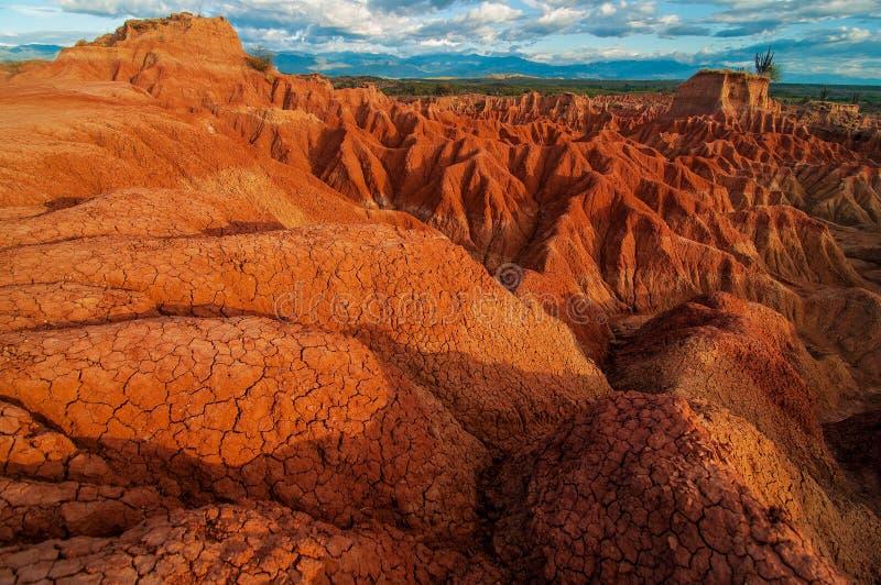 Κόκκινοι σχηματισμοί βράχου Tatacoa στοκ φωτογραφία