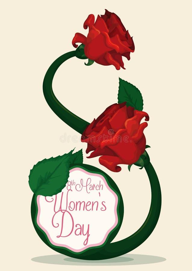 Κόκκινοι τριαντάφυλλα και μίσχος με οκτώ τη μορφή για τον εορτασμό ημέρας των γυναικών, διανυσματική απεικόνιση απεικόνιση αποθεμάτων