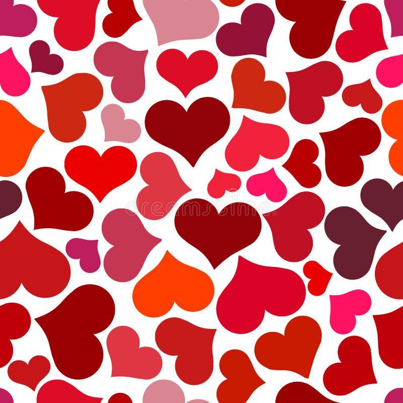 κόκκινος άνευ ραφής προτύπ& Στροβιλιμένος κόκκινες καρδιές σε ένα άσπρο υπόβαθρο ελεύθερη απεικόνιση δικαιώματος