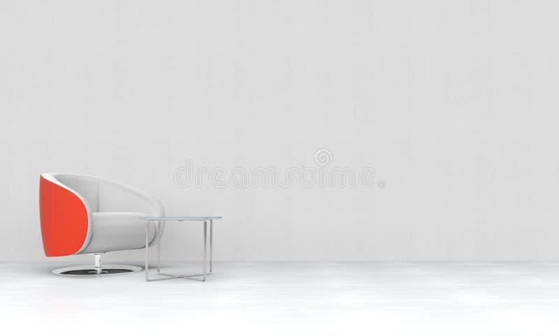 Κόκκινος-άσπρη πολυθρόνα στο άσπρο δωμάτιο στοκ εικόνα με δικαίωμα ελεύθερης χρήσης