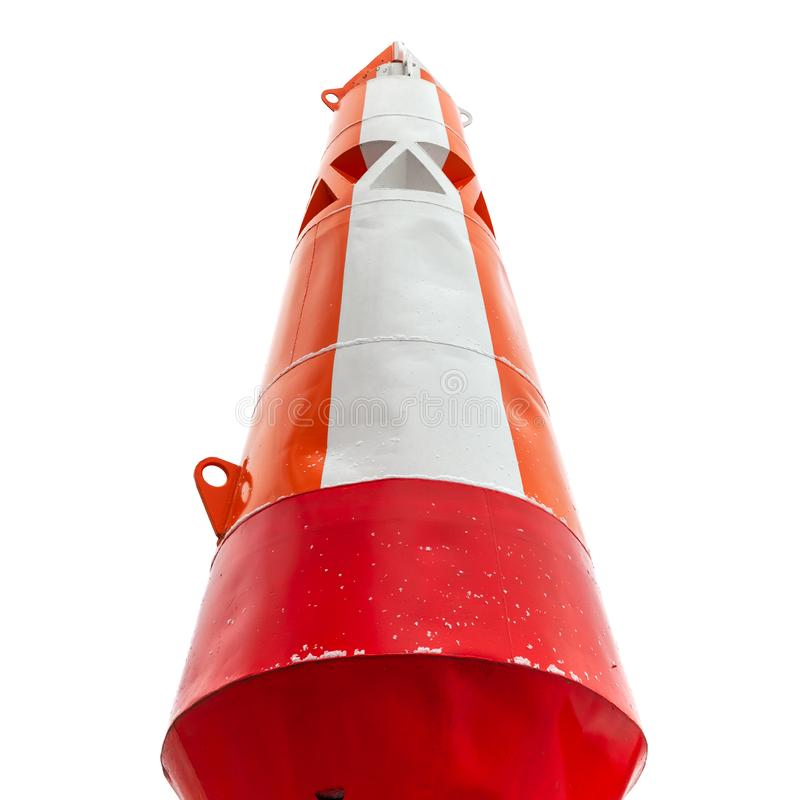 Κόκκινος άσπρος ασφαλής κωνικός σημαντήρας νερού στο λευκό στοκ εικόνες