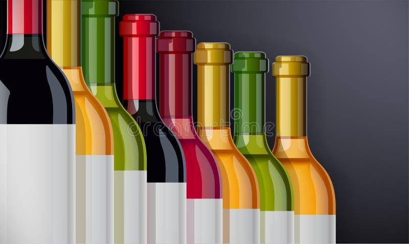 Κόκκινος, άσπρος και αυξήθηκε μπουκάλι κρασιού Σχέδιο έννοιας για την κάρτα κρασιών απεικόνιση αποθεμάτων