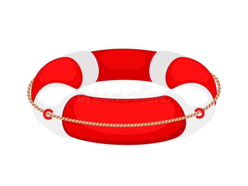 Κόκκινος άσπρος lifebuoy που απομονώνεται στο άσπρο υπόβαθρο ελεύθερη απεικόνιση δικαιώματος