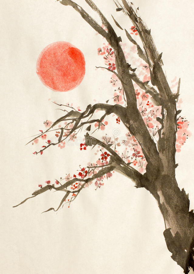 Κόκκινος ήλιος δέντρων δαμάσκηνων ελεύθερη απεικόνιση δικαιώματος