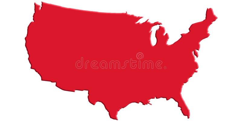 Κόκκινος αμερικανικός χάρτης απεικόνιση αποθεμάτων