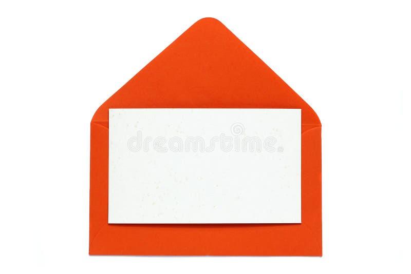 Κόκκινος ανοικτός φάκελος με την κενή κάρτα στοκ εικόνα