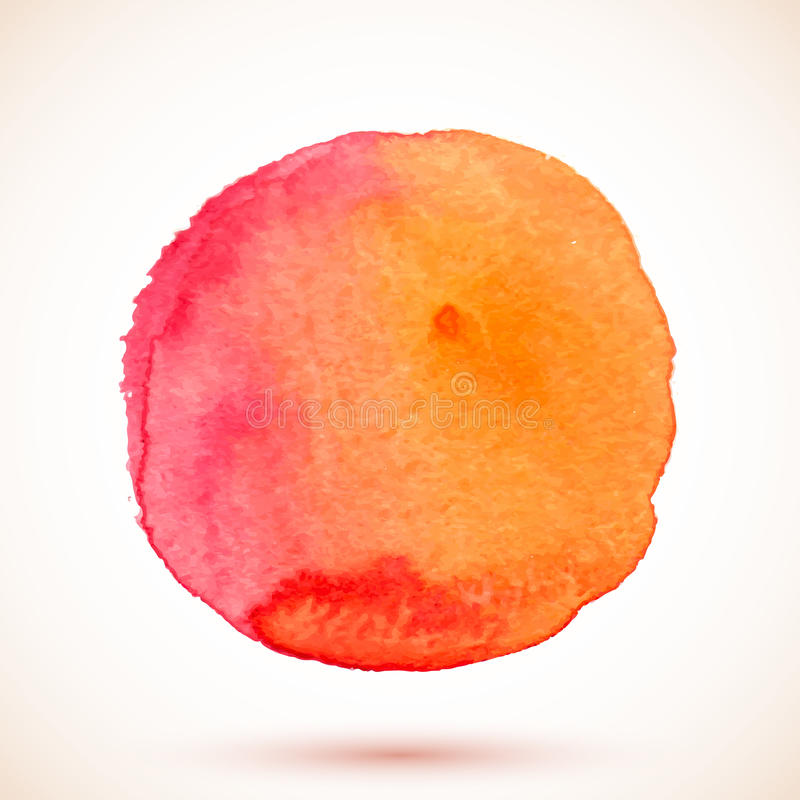 Κόκκινος απομονωμένος διάνυσμα κύκλος χρωμάτων watercolor διανυσματική απεικόνιση