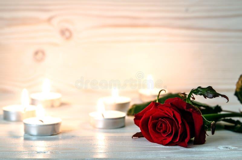 Κόκκινος αυξήθηκε είναι μεταξύ των αναμμένων κεριών στην ξύλινη άσπρη επιφάνεια στοκ εικόνα