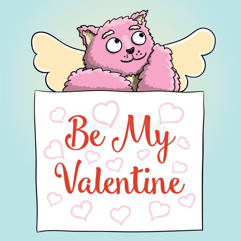 κόκκινος αυξήθηκε Η χαριτωμένη ρόδινη γάτα Cupid με είναι η αφίσα βαλεντίνων μου απεικόνιση αποθεμάτων