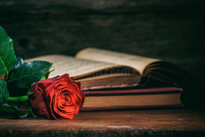 Κόκκινος αυξήθηκε και εκλεκτής ποιότητας βιβλία στο σκοτεινό υπόβαθρο στοκ εικόνες