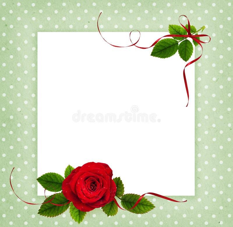 Κόκκινος αυξήθηκε λουλούδι και φύλλα σε μια ρύθμιση γωνιών και μια κάρτα στοκ φωτογραφίες